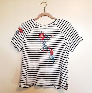 Anthro Hazel Striped Floral Short Sleeve Top S
